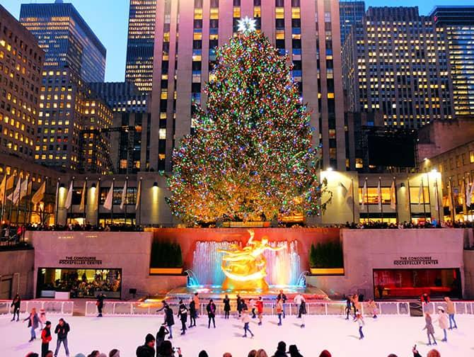 Løbe på skøjter i New York - Løb på skøjter ved Rockefeller Center
