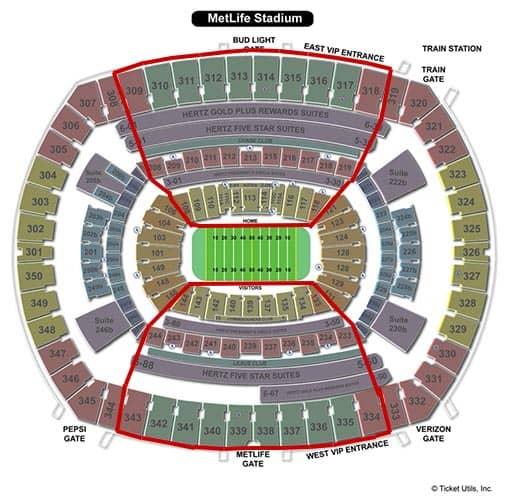 New York Jets billetter - MetLife Stadium Siddepladser