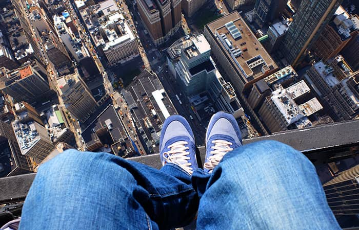 Helikoptertur uden døre i New York - Sko-selfie