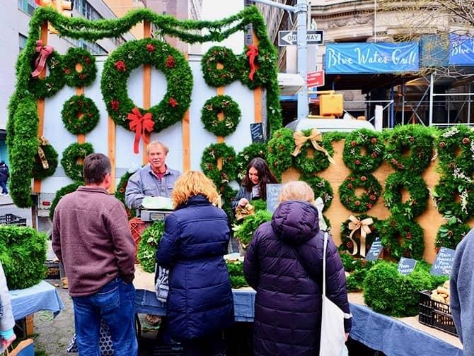 Markeder i New York - Julekranse på Union Square