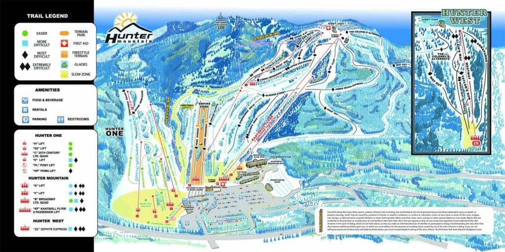 Ski- eller snowboard-dagstur i New York - Kort over løjper
