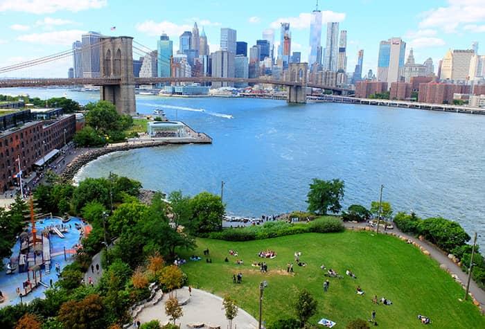 Brooklyn Bridge Park i New York - Ovenfra